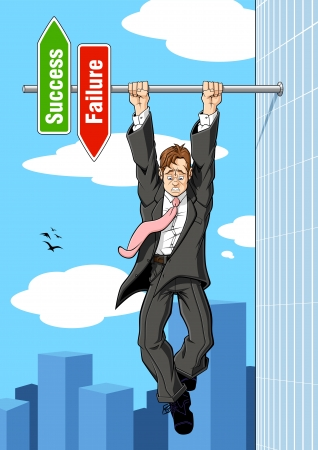 imminent: Conceptual illustration relating to imminent failure  A businessman hanging on to an horizontal pole of the success and failure sign  he is on the point of falling down toward the failure