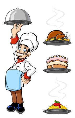 Illustration of an happy chef raising a silver tray Vector