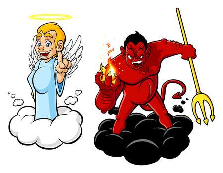 Illustration of cartoon angel and devil. Vector