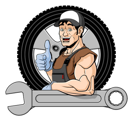 specialists: Illustration of a smiling tire specialist  He is leaning on a big wrench and giving a thumbs up  Behind him there is a wheel  Isolated on white background