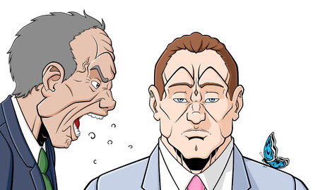 crack up: An angry man is shouting at an other man who is stand him without responding Illustration