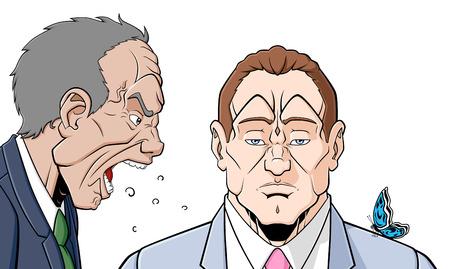 Een boze man schreeuwt tegen een andere man die staan hem zonder te reageren