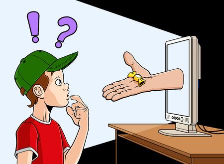 Conceptuele illustratie over de gevaren van internet voor de kinderen een hand die uit een scherm en het aanbieden van een snoepje aan een kind Stock Illustratie