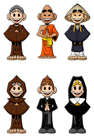 clergyman: Collection of cartoon religious  Catholic monks, Buddhist monks, nun and priest  Isolated on white background  Illustration