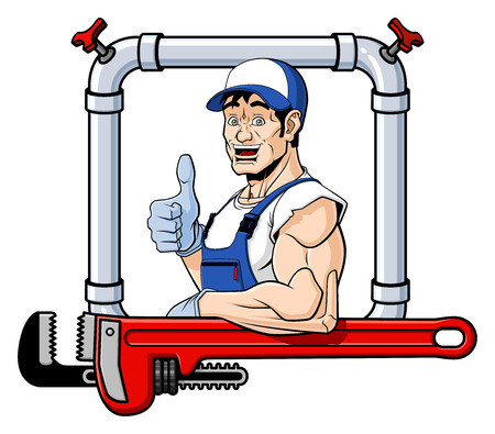 Conceptual illustration of a friendly plumber  He is leaning on a big pipe wrench and giving a thumbs up  Isolated on white background