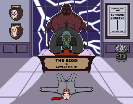 Humorous illustration about a monstrous and bad boss