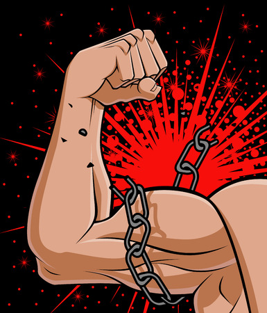trapped: Conceptual illustration about freedom  a muscular arm is breaking the chain that trapped it