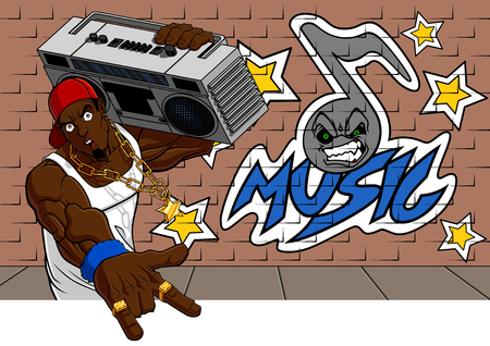 Illustration of rapper bearing a 80s radio on his shoulder  Behind him there is a wall with a graffiti  you can easy clear it and write your text  Illustration