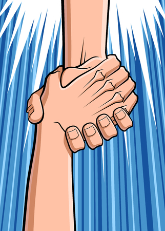 grabbing: Conceptual illustration about rescue  Close up of two hands  a hand is grabbing the hand of a man who was falling down  Illustration