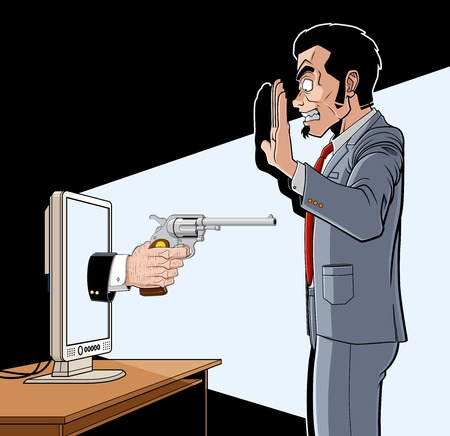 threatens: Conceptual illustration about IT crimes.  A hand with a pistol comes out from a screen and threatens a man.  The man is worried and puts his hands high