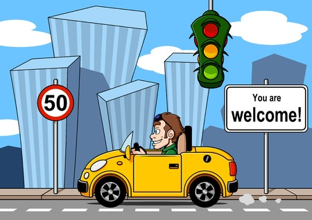 señal de transito: Un conductor feliz va a la ciudad de ilustración de estilo de dibujos animados con el paisaje urbano Vectores