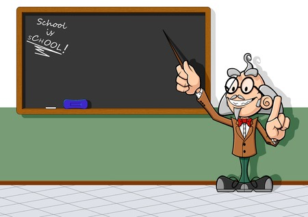 Illustration of cartoon teacher at chalkboard  The teacher points the empty chalkboard with a rod, explaining his  your  lesson  Vector