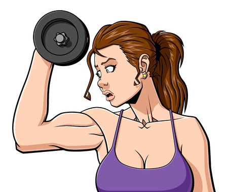 bicep: Illustration of a woman are training with a dumbbell. Isolated on white background.