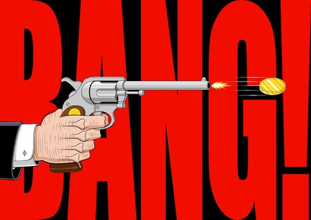 onomatopoeia: Conceptual illustration that represent the weapons industry. The pistol shoots a golden coin, symbol of earnings, rather than a bullet. The background is entirely occupied by the onomatopoeia BANG!. Illustration