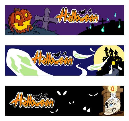 cripta: Raccolta di tre bandiere di Halloween. � possibile cancellare l'? Halloween? testo e mettere i vostri. Vettoriali