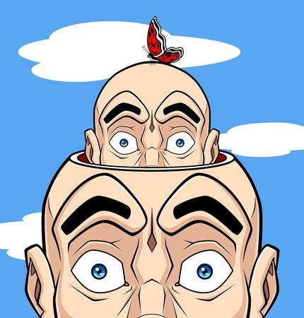 bilinçli: Insan aklının ilgili kavramsal illüstrasyon. Kafa aynı kafa çıkıyor itibaren, bu bilinçli gösterir; Bu baş bilinçsiz sembolize eden bir kelebek vardır. Çizim