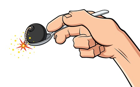 Conceptual illustration about digestion problems. A hand holds a spoon with a bomb, symbol of gastritis and stomach ache.