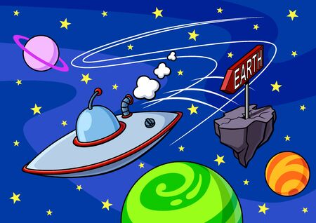 Funny illustration of a flying saucer en route to the Earth. Spatial background with planets and stars Illustration