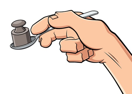 digestion: Conceptual illustration about hard digestion. A hand holds a spoon with a weight, symbol of heavy food and stomach ache.