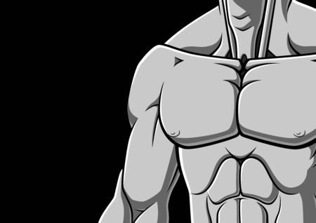 abdominal exercise: Illustration of muscular male chest on black background. Grayscale illustration with space for your text.