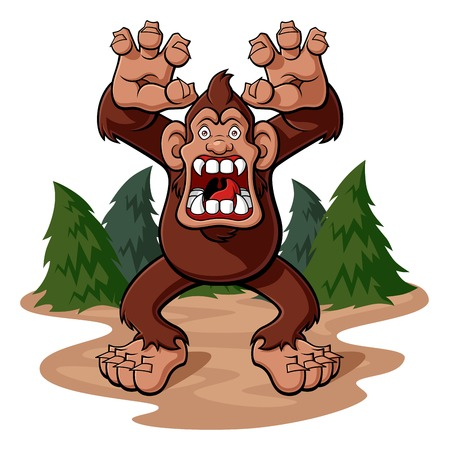 Cartoon illustration of a bigfoot in aggressive attitude with his jaws gaping. Partial view of a pine forest. Isolated on white background. Illustration