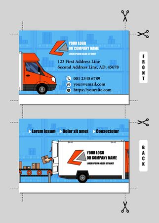 Vector business card design for delivery or logistics and transportation business. In it there are a truck, loaded by a worker and a conveyor belt, on warehouse background. Template contents replaceable easily. This design has a nice feature, because the two halves of the truck on front and back can be united placing side by side two business cards (cut following the crop marks). Proportions of the business card: 8,5 x 5,5 cm as final result, 0,3 cm of bleed area.