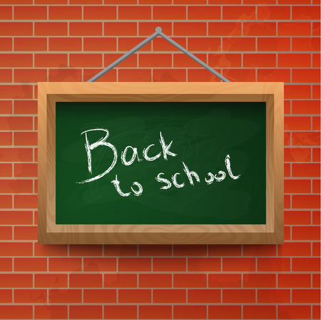 Back to school chalkboard on a brick wall. Vector background. Vector