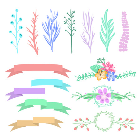 Vector graphic set arrows hearts laurel wreaths and ribbons. Vector