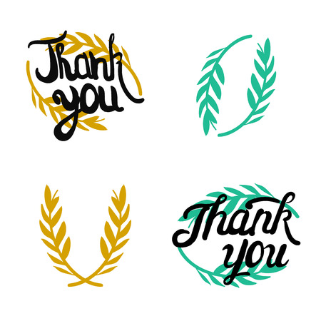 hand lettered: Thank you hand lettered signs with olive branch Illustration