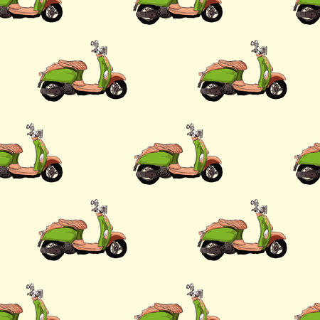 Retro scooter  seamless pattern Vector