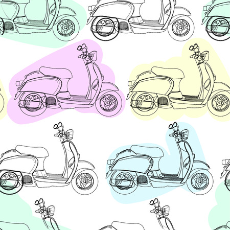 Retro scooter vector seamless pattern Vector