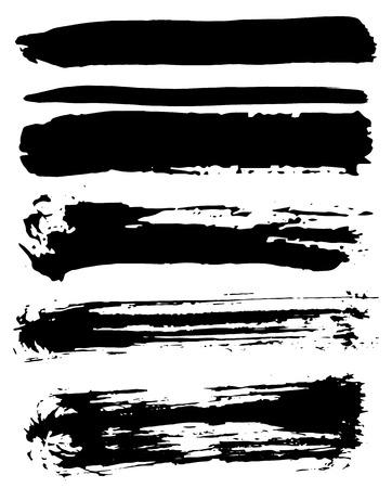 Black ink vector brush strokes Çizim