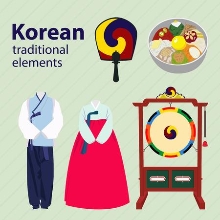 traje: Coreano elementos tradicionais set vector