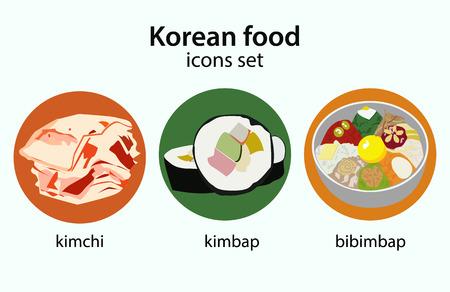 korea food: Korean food flat design icons set.