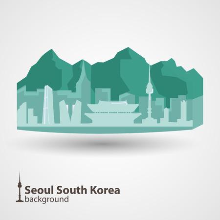 южный: Сеул, Южная Корея горизонт иллюстрация