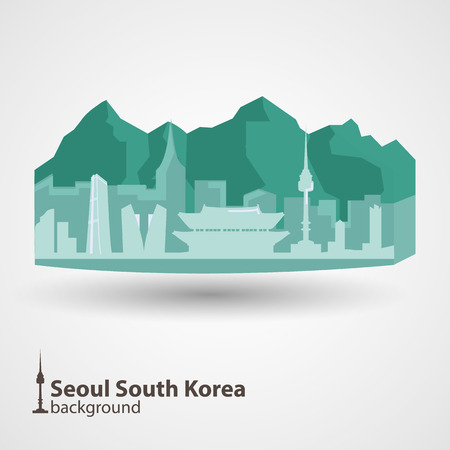korea: Seoul, South Korea skyline illustration