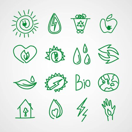 Hand drawn ecology icons. Vector doodles Vector