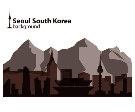 Seoul, South Korea skyline illustration
