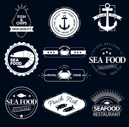 set of seafood logos. Crab lobster restaurant Vector
