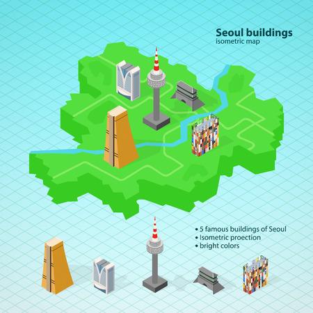 seoul: Isometric map of Seoul, Famous buildings of Seoul Illustration
