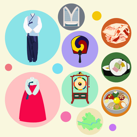 south asian: Korean traditional elements vector set Illustration