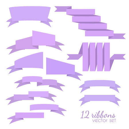 Set of 12 vector ribbons.Flat style Çizim