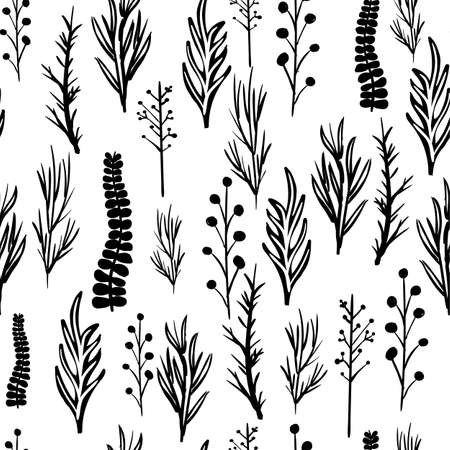 Black and white leaves seamless vector pattern Çizim