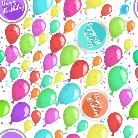 Happy birthday seamless pattern with lots of ballons