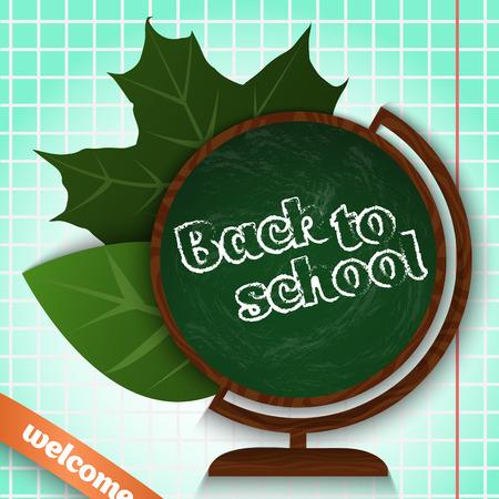Back to school. Globe chalkboard with leaves.Vector illustration. Çizim