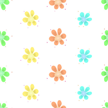 Colorful flowers simple seamless pattern. Vector background Çizim