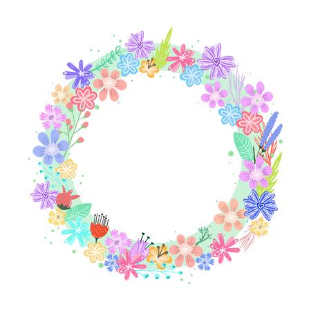 Cute colorful vector flowers frame Çizim