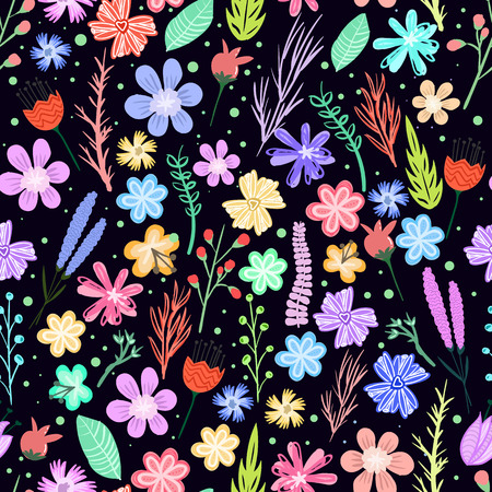 Colorful little flowers seamless pattern. Vector background