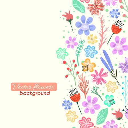 Colorful vector flowers card background Çizim