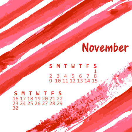 calendar background: Watercolor hand painted brush strokes, calendar background